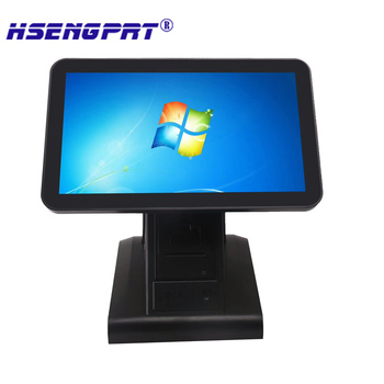 Dual screen Free shipping  15 inch windows all in one touch pos machine built-in 2inch printer