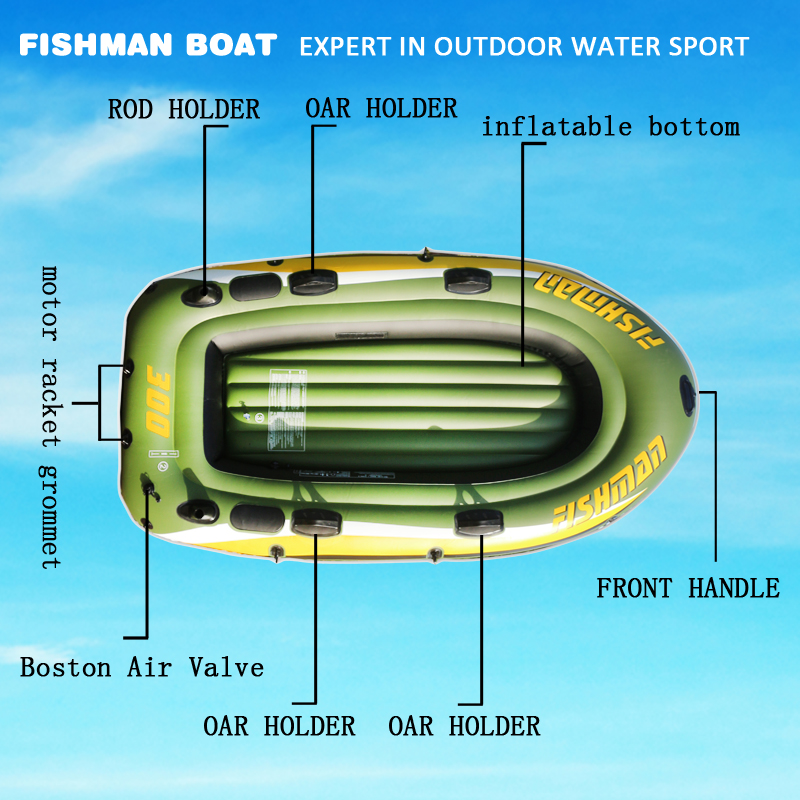 FISHMAN 3 personne bateau à poisson 252*125*40 cm PVC bateau gonflable pêche kayak pompe à aubes sac de transport sac à dos canot radeau rame pagaie - 4