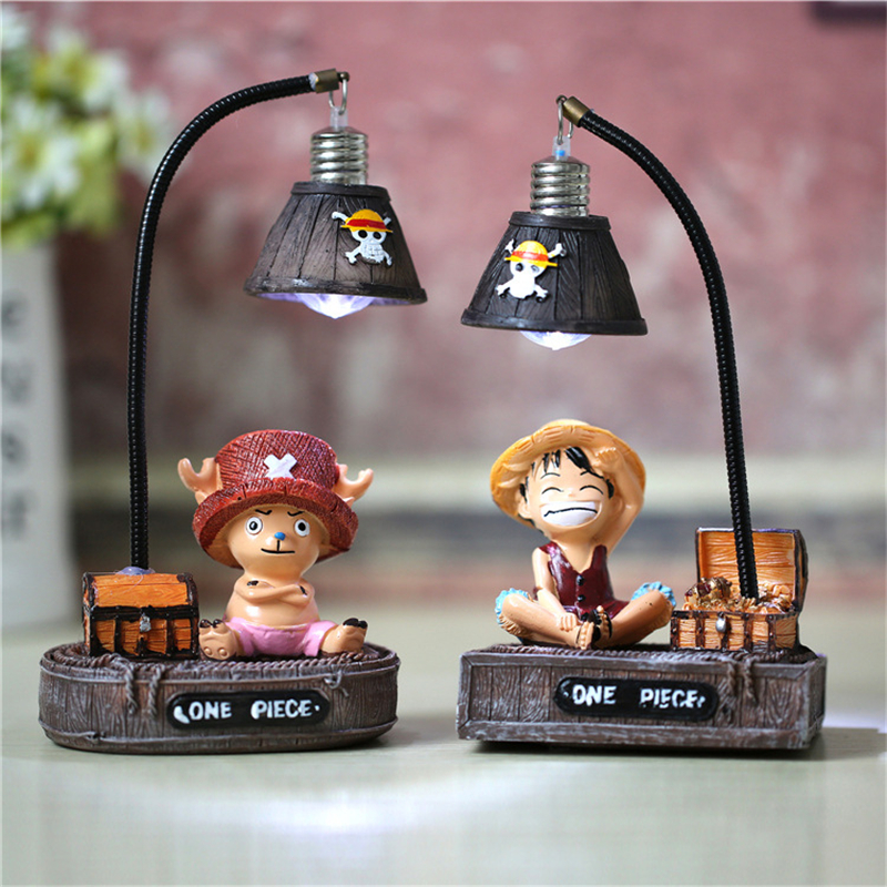 Creative DIY Japanese Anime Luffy Figures Lamp Resin One Piece Luffy Model Toys Nice Children Birthday Gifts Desk Decoration Toy