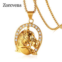 Modyle Rock Pendant Gold Color Stainless Steel Horse Men Necklace AAA CZ Stones Punk Unisex Jewelry(China)