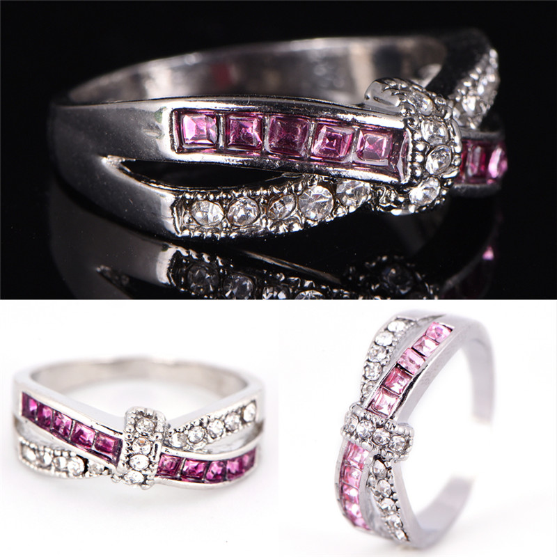 2018 jewelry cross finger ring for lady paved zircon luxury Princess women Wedding Engagement Ring purple pink color Rings