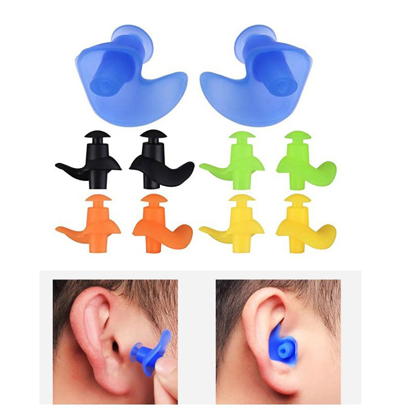 1 Pair Silicone Swimming Earplugs Waterproof Dustproof Spiral Soft Swim Ear Plugs Clips Diving Water Sports Swimming Accessories