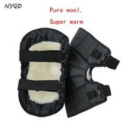Genuine Leather Winter Outdoor windproof Short Kneepads Keep Warm for Motorcycle ride warm knee