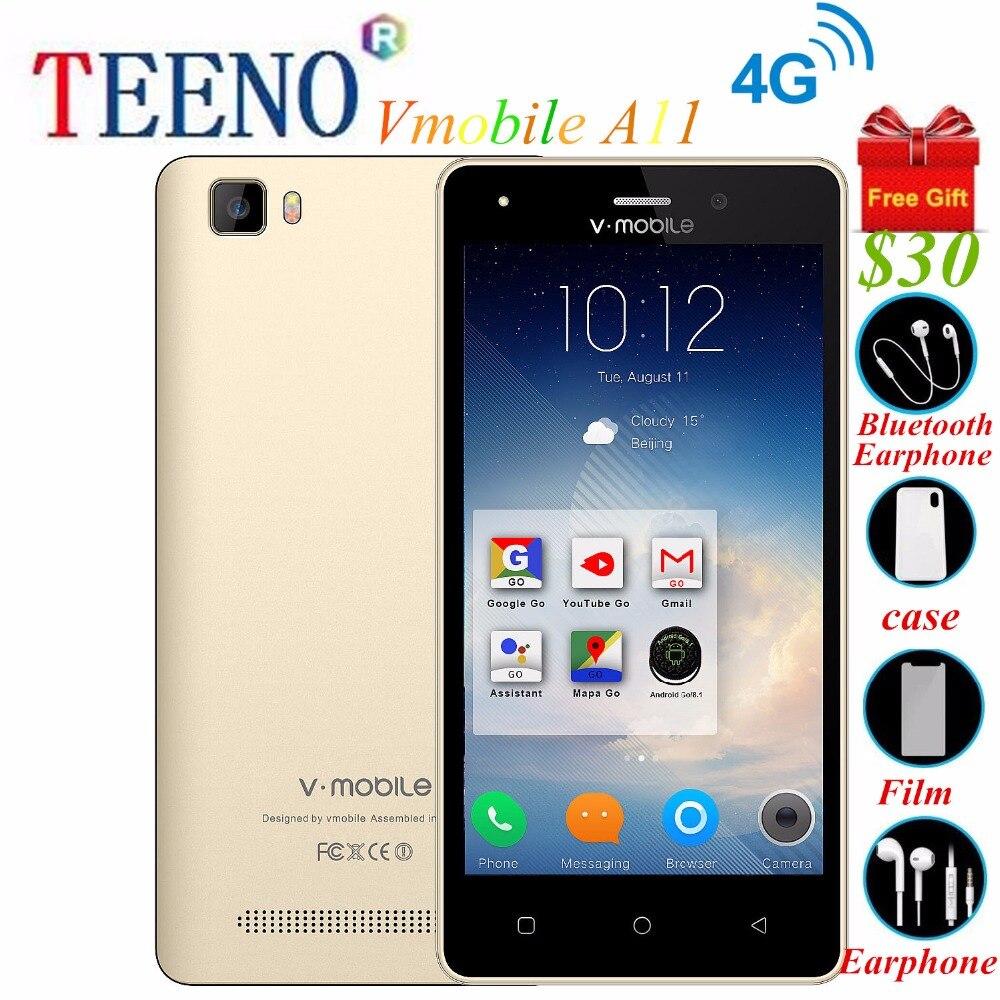 """TEENO Vmobile A11 глобальной версии 4 г LTE 8-ядерный Смартфон Android 8,1 dual sim 8MP двойной Камера 16 ГБ 5,0 """"открыл мобильный телефон"""