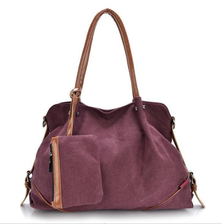 Fashion 3pcs font b set b font Canvas Composite bag plain canvas bag Fashion Shoulder bags
