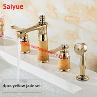 4pcs Yellow green jade stone rose gold/gold Diamond Handle Bathtub faucet bathroom sink faucet mixer with hand shower widespread