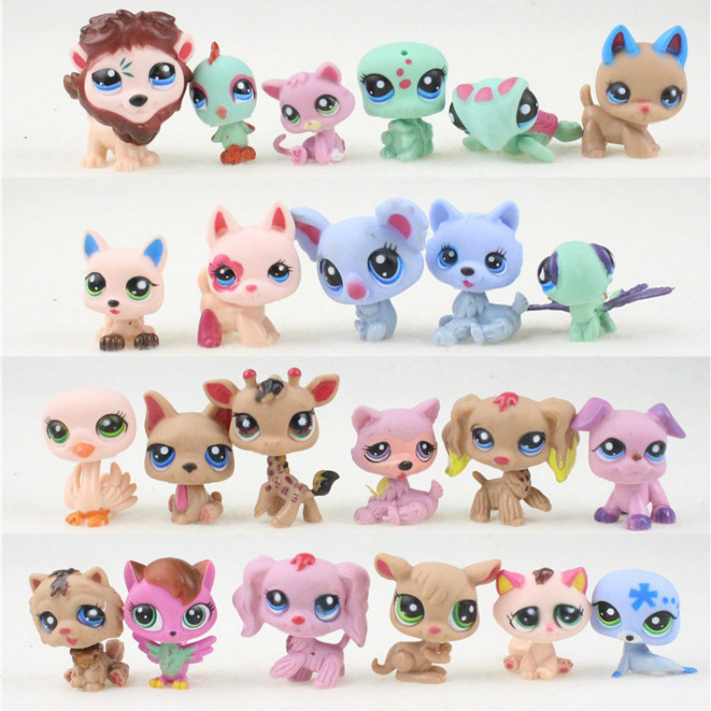 24pcs/lot Little Vinyl Toy Dolls Pet Action Figures Unicorn Kitty Dogs Mini Figures Christmas Toys For Children Animals Set