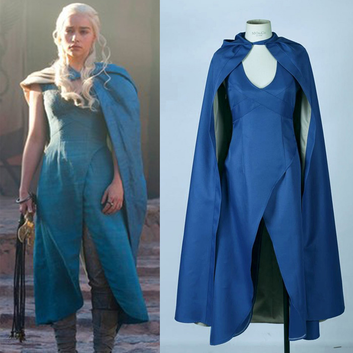 Game of Thrones Daenerys Targaryen Dress Cape Cosplay Costume Blue Dress Cloak Halloween Party Dress