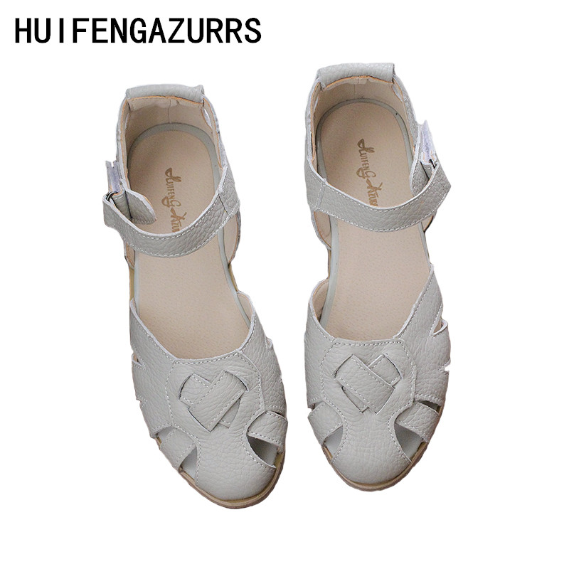 HUIFENGAZURRS The retro art mori girl Literary and artistic women s real leather Weave sandals summer