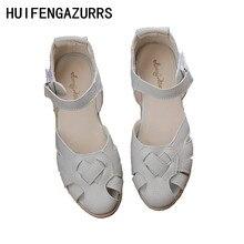 HUIFENGAZURRS-Retro art vajzë mori lëkure të vërteta letrare dhe artistike të grave, Sandale endje, verë sandale të rehatshme