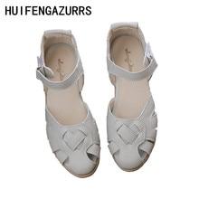 HUIFENGAZURRS-Το κορίτσι ρετρό τέχνης mori Πραγματικό δέρμα λογοτεχνικών και καλλιτεχνικών γυναικείων σανδάλια Weave, καλοκαίρι Άνετα σανδάλια