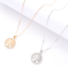 New Life Tree Round Pendant Necklace Gold Silver Elegant Women Jewelry Gift Party Dinner Lady Zinc Alloy Fashion Jewelry цена в Москве и Питере