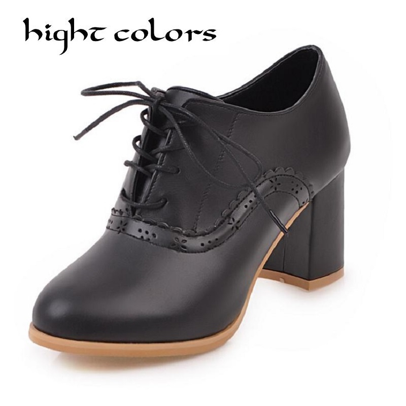New high heels shoes female thick heel round toe Office&career casual shoes british style women's shoes oxfords pumps size 40 43 hee grand pointed toe pumps british style med heels patchwork t strap oxfords shoes woman casual vintage pump shoes xwd2469