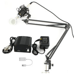 BM-8000 Professional  Condenser Microphone For Studio Recording   With Stand Holder + Phantom Power +sound card