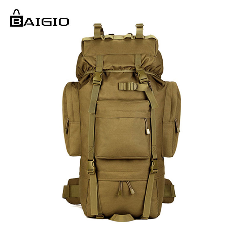 Baigio Backpack Male 65L Military Assault Backpack Waterproof Gear Large Rucksack Molle Bag Trekking Men Travel Bag By Protector free shipping men women unisex outdoor military tactical backpack camphiking bag rucksack 50l molle large big ergonomic gear