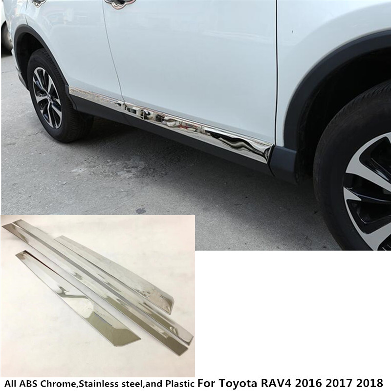 car stainless steel Side Door Body trim stick Strip Molding Stream lamp panel bumper 4pcs for Toyota New RAV4 2016 2017 2018