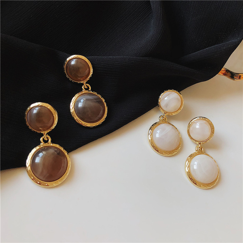 Vintage Metal Round Acrylic Drop Dangle Earrings For Women Accessories Jewelry 2019 Fashion Geometric Earrings Boucle D'oreille