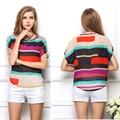 Nuevas Rayas Gasa Blusa para Mujer Multi Color Pacthwork Camisas Sueltas Cuello Redondo Blusa Femininas Tops