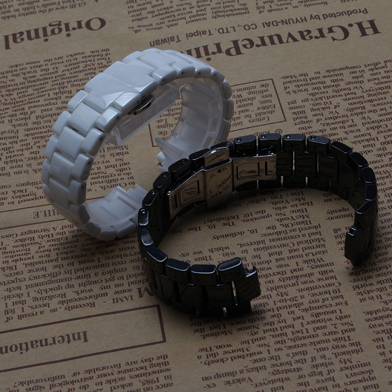 ФОТО Brand Style Watchband Width19mm lug 10mm 22mm lug 11mm  Black White Ceramic mens accessories Silver butterfly deployment buckle