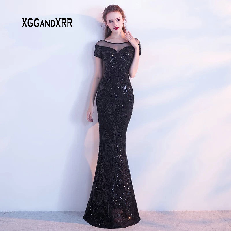 Xh-237 2018 Black Lace V-neck A-line Celebrity Dresses Cap Sleeves Ruffles Prom Dress Backless Custom Mad Red Carpet Gown Weddings & Events