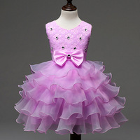 Child Wear Eventing Clothes Short Children Wedding Occasion Birthday Gown for 7 Years Old Party Wear Kids Tutu Cake Dress