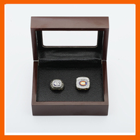 Gorgeous Ring Sets With Wooden Boxes Replica Ice Hockey Copper High Quality 2pcs Packs Chigaco Bears