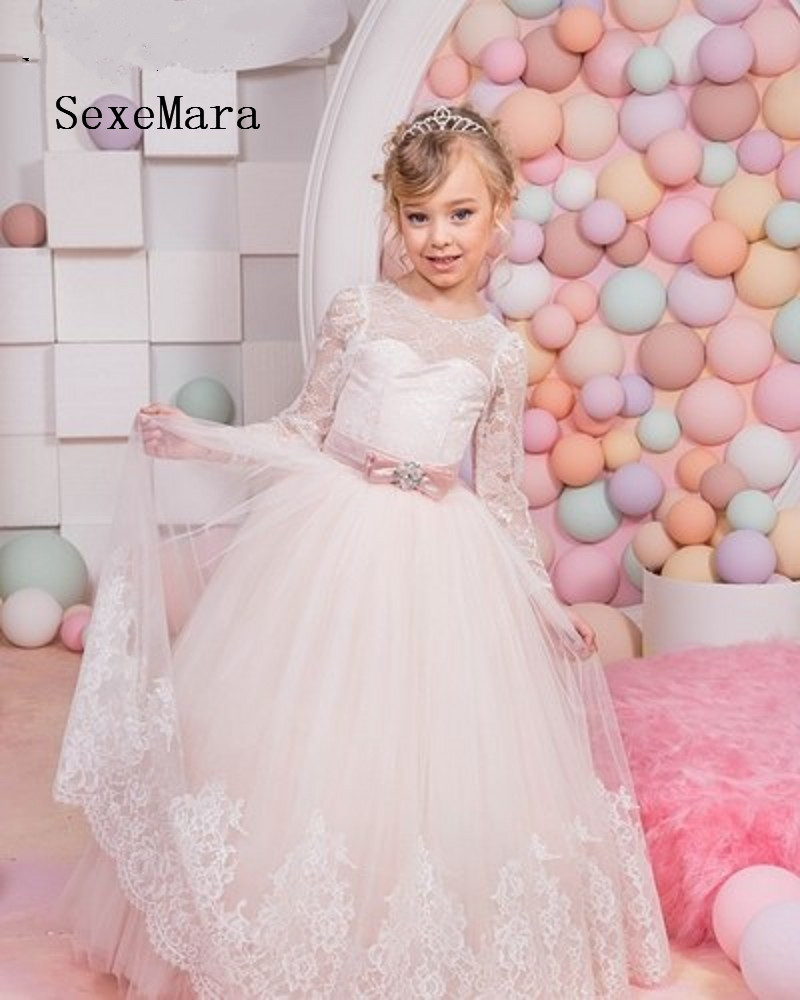 Ivory White Girls Dresses Lace Long Sleeve Flower Girl Dress Girl Pageant Dress First Communion Gown