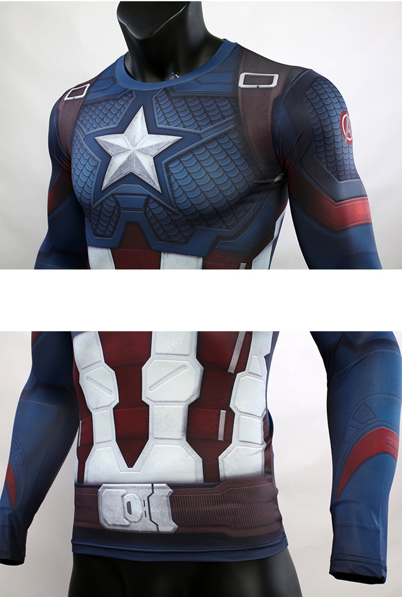 3D Captain America T-shirt Cosplay Avengers Endgame Captain America Costume Avengers 4 Steve Rogers T-shirts Sport Tight Tees53