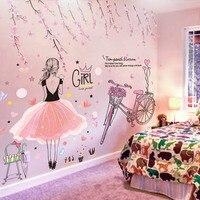[SHIJUEHEZI] мультфильм девушка стены Стикеры s ПВХ DIY цветы персика плакат с велосипедом Стикеры для детей номеров украшение для детской спальни