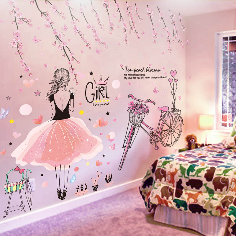 [SHIJUEHEZI] Cartoon Girl Wall Stickers Vinyl DIY Pink Peach Flowers Bicycle Wall Decals for Kids Rooms Baby Bedroom Decoration