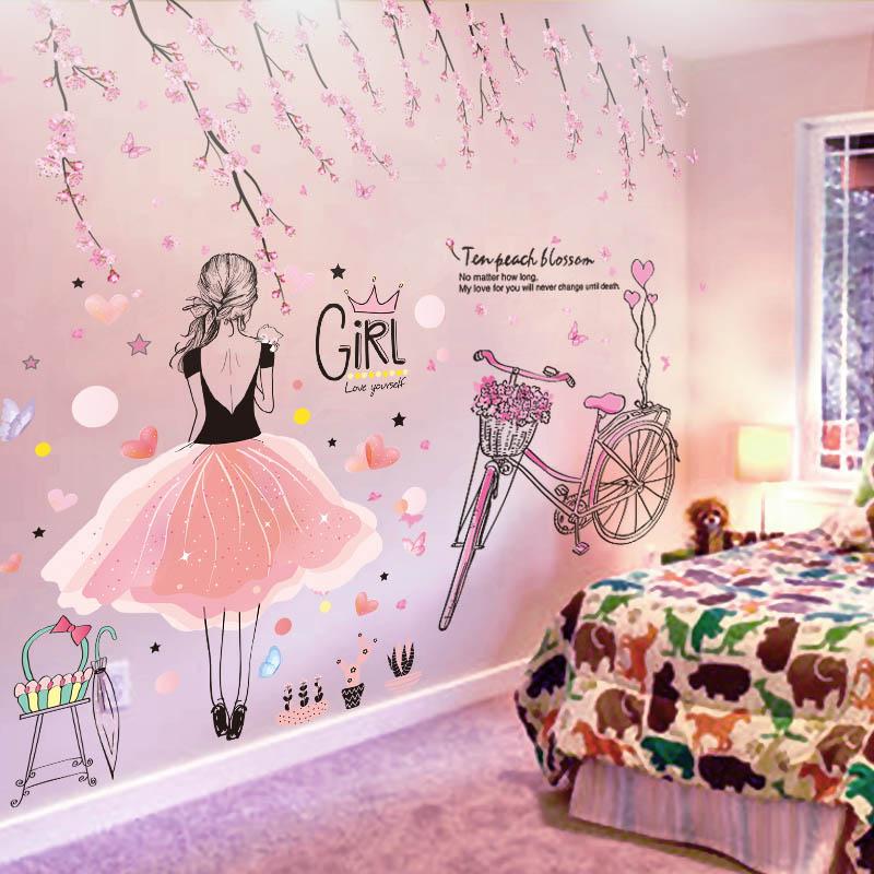 [SHIJUEHEZI] chica de dibujos animados pegatinas pared vinilo DIY melocotón flores bicicleta Mural para habitaciones de niños dormitorio Decoración