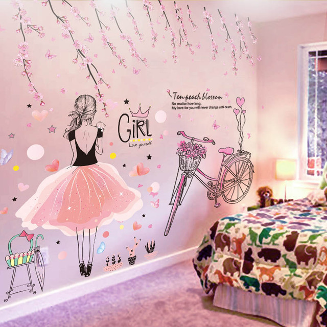 [SHIJUEHEZI] Cartoon Girl Wall Stickers Vinyl DIY Peach Flowers Bicycle Mural Decals for Kids Rooms Baby Bedroom Decoration