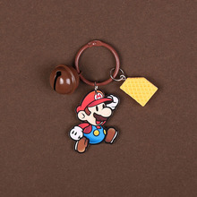 Cartoon Acrylic Super Mario Keychain Diy Bell Charm Car Keyring For Women Bag Pendant Accessory