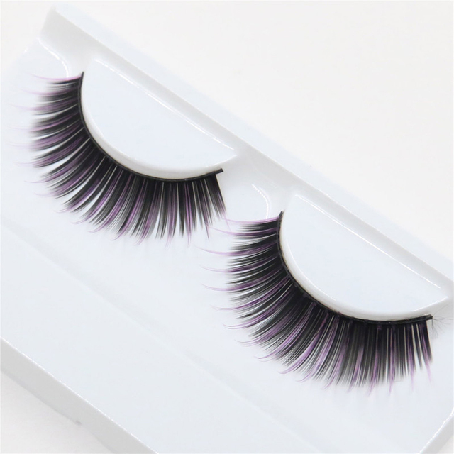 f91d9c16fdd Natural Color False Eyelashes Stage Performance Art Studio Cosplay Makeup  Eye Lashes Pink and Black Thick Fake Eyelash Extension