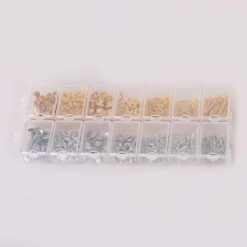 300 יח'\סט, ערכת סגנון מעורב זהב/רודיום אבזרים (טבעת לקפוץ, כובעי הסוף, אבזם, שרשרת, וו, פין) עבור תכשיטי ביצוע ממצאים