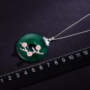 Image 5 - לוטוס כיף אמיתי 925 כסף סטרלינג בעבודת יד תכשיטים פגז שזיף פרח טבעי אבני חן תליון ללא שרשרת לנשים