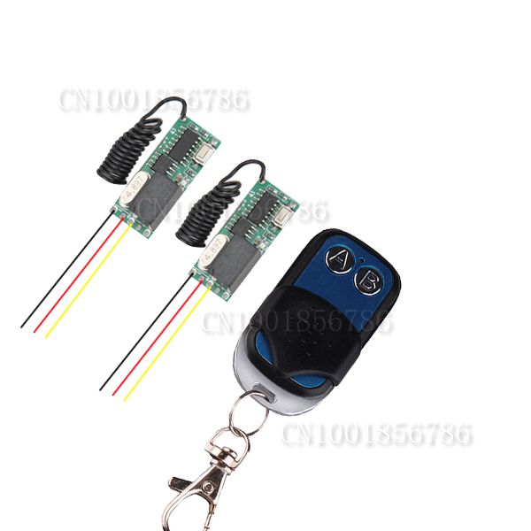 DC3-5V Mini Small Volume Radio Remote Control Switch System 2 Transmitter Receiver 315/433.92MHZ Latched Toggle Momentary Learn