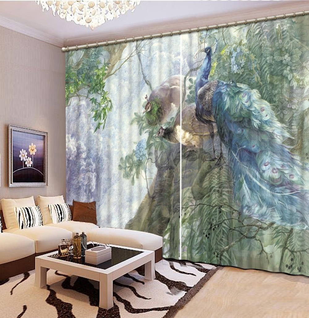 Fashion 3D Home Decor Beautiful Peacock 3d Curtain Home Decor Living Room  Natural Art Fashion Decor