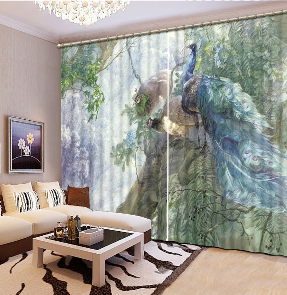 Fashion 3D Home Decor Beautiful Peacock 3d Curtain Living Room Natural Art