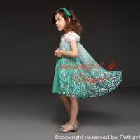 2017 Newest  Girl Elsa Dresses Puff Sleeve Green Princess Anna Dresses Flower belt And Cape Christmas Kids Costume WearGD50613-4