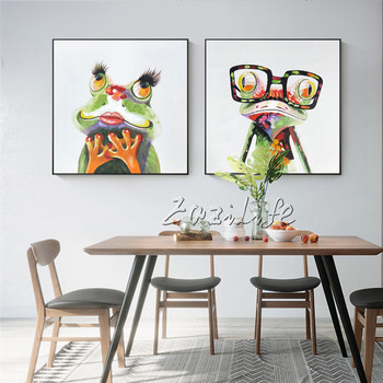 Green Frog Pop art Oil Modern Animal Hand Painted painting Quadros Cuadros Decoracion on Canvas Wall Art Pictures for Girls Room