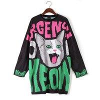 Sweatshirt for women Print Graffiti Funny Cute Cat Casual Large Size Batwing Sleeve Womens Pullovers Sweatshirts Black