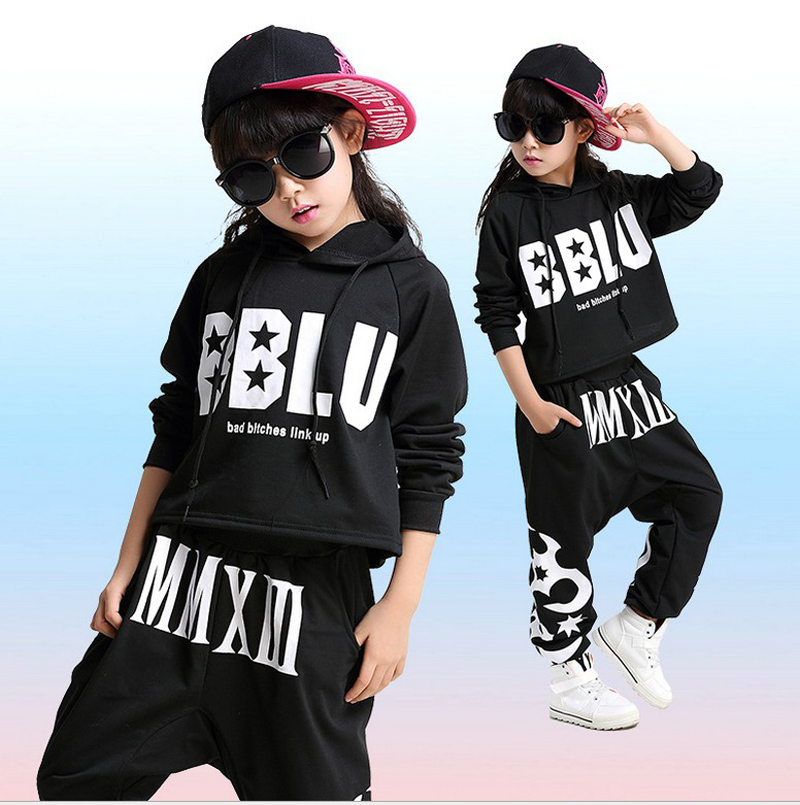 children Adult boy girl long sleeved ballroom black Hip Hop hiphop DS Jazz Dance Costumes clothes T shirt Leotard Harem Pants