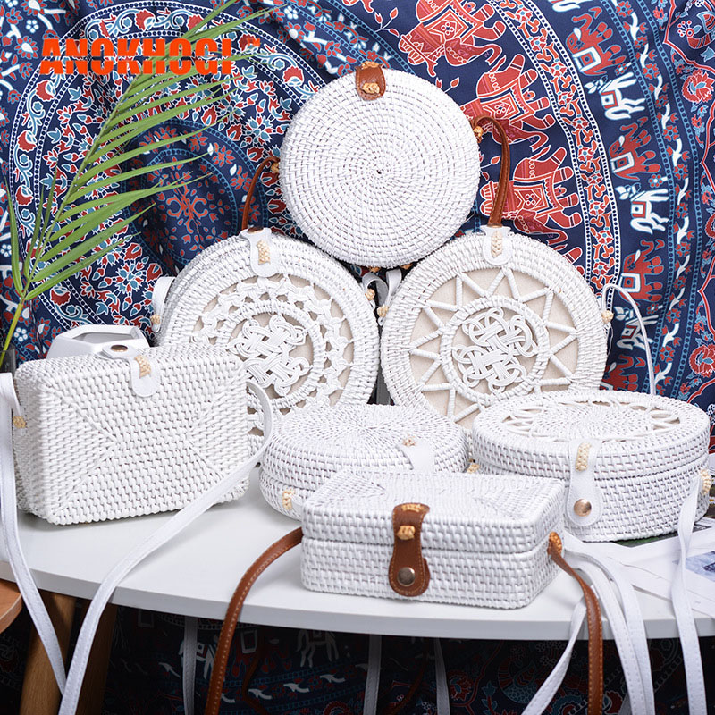 New Vintage Handmade Women White Rattan Bags Stars Flowers Straw Woven Bohemia Style Shoulder Bag Crossbody Handbags B374
