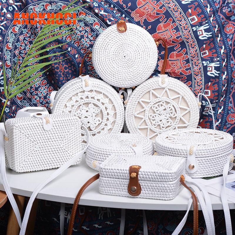 New Vintage Handmade Women White Rattan Bags Stars Flowers Straw Woven Bohemia Style Shoulder Bag Crossbody Handbags B374