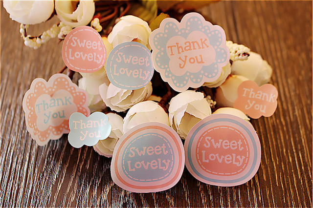 32pcs Sheet Thank You Pink Blue Sealing Paste Diy Gift Wrap