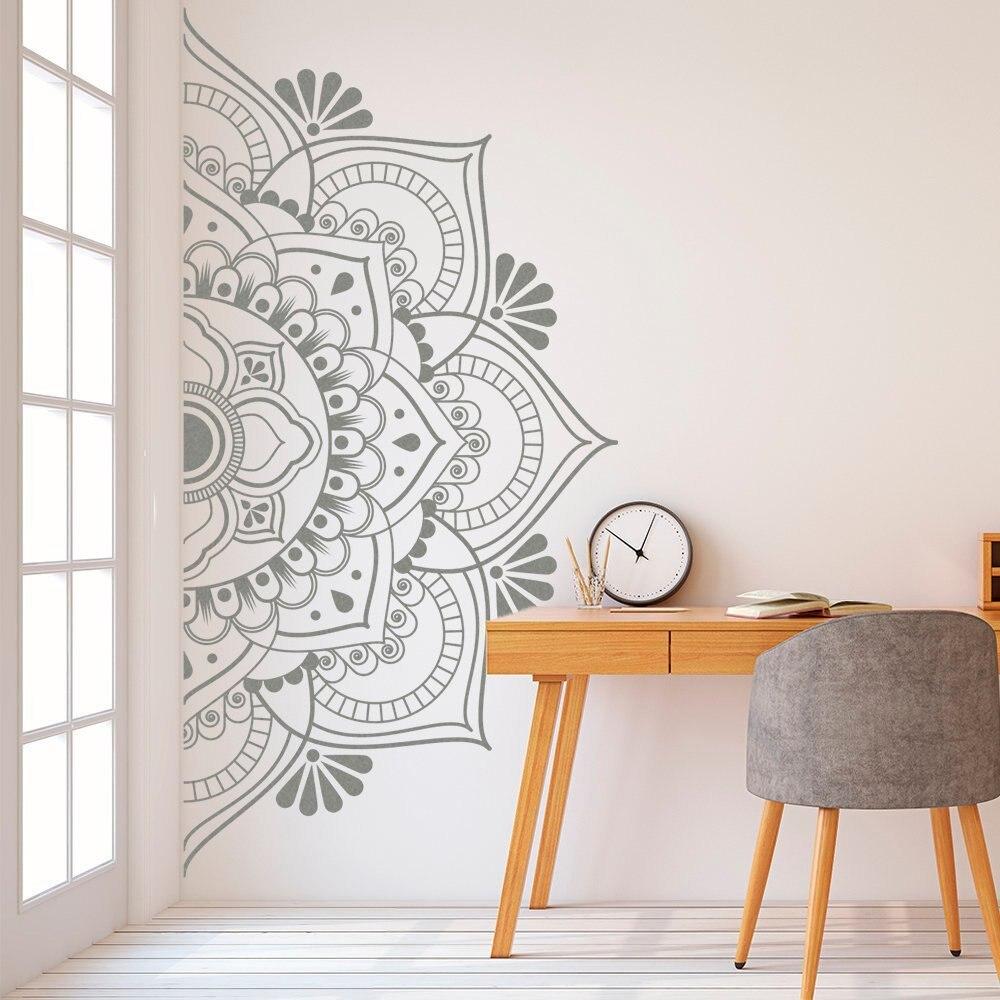 Mandala em metade adesivo de parede decoração para casa removível vinil adesivo para meditação yoga arte da parede sala estar quarto mural g190