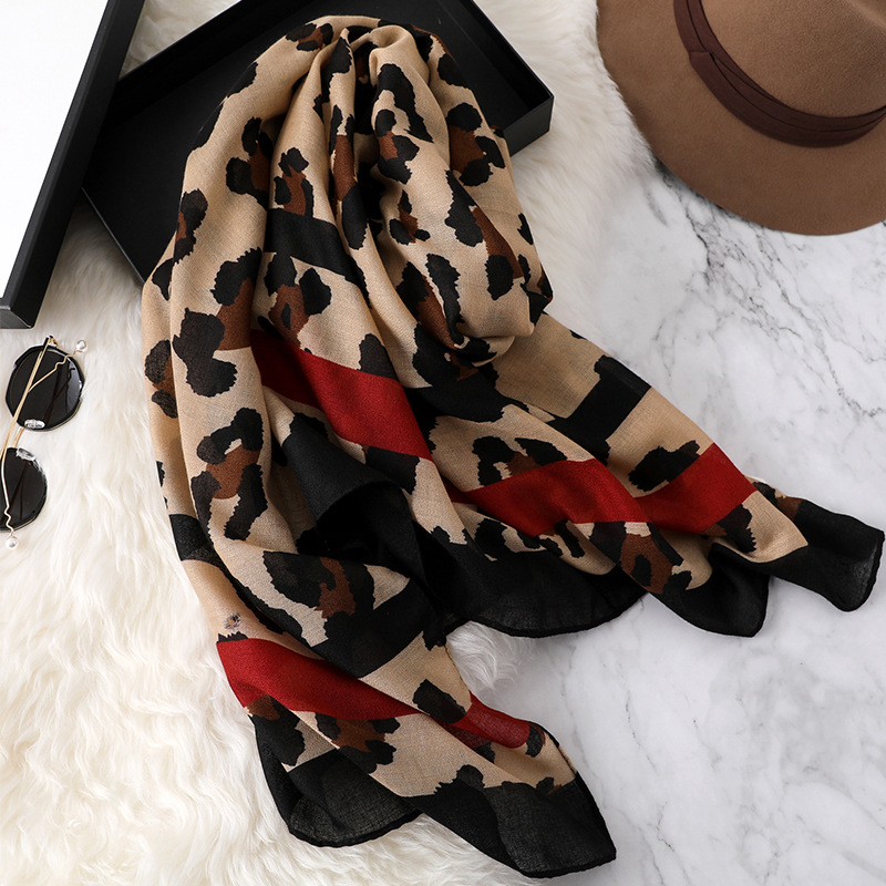 Design Leopard Print 2018 women   scarf   fashion pashmina for lady cotton   scarves   shawls and   wraps   neck head hijabs