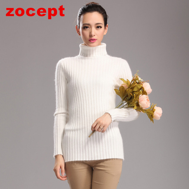 zocept 2016 Fashion New Mink Cashmere Turtleneck Sweaters Women Knitted Winter Warm Solid Color Pollovers Female Slim Clothing