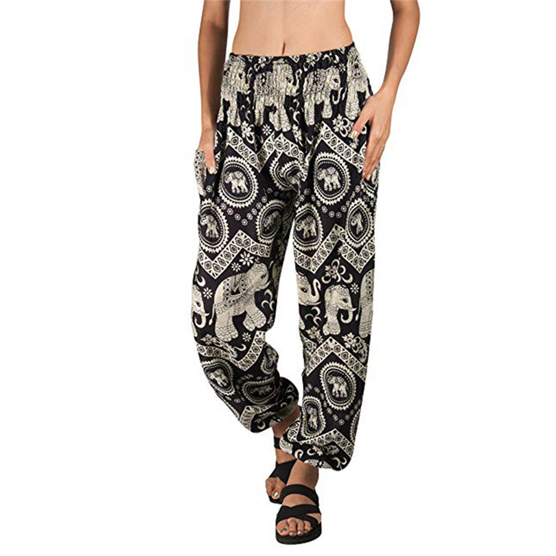 New Women Linen Pants 2019 Fashion Casual India  Style Tapered Elephant Harem Loose Travel Lounge Pants #E23